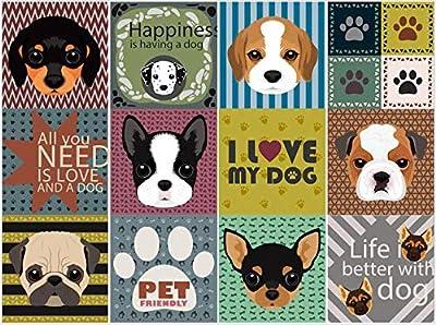 BRIKETO Pets Decorative Tile Stickers Set 12 Units 6x6 inches. Peel & Stick Adhesive Tile Stickers. Home Decor. Furniture Decor. Wall Decor. Backsplash Tile Stickers.