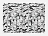 Ambesonne Fish Bath Mat, Squama Design with Aquatic Inspirations Animal Skin Scales Pattern Monochrome, Plush Bathroom Decor Mat with Non Slip Backing, 29.5 W X 17.5 W Inches, Black Grey White
