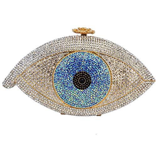ULKpiaoliang Gold Evil Eye Bag Women Clutch Bag Silver Evening Bag Femme Pochette Bag Crystal Day Clutch Party Purse Gold silver (Pouch Metallic Bag Evening)