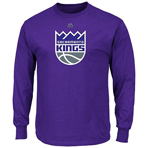 Men's NBA Logo II Long Sleeve Crew Neck T-Shirt (Large, Sacramento - Crew T-shirt Majestic