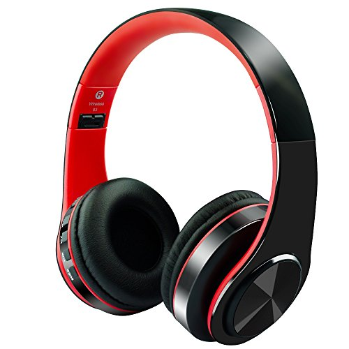 Alitoo Wireless Bluetooth Headphones Noise Cancelling Over-Ear Headset with Mic,Hi-Fi Stereo Foldable Built-in Wired Mode Multifunction for Laptop PC Tablet Computer Phone TV(Black&Red) by Alitoo