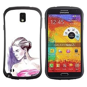 Suave TPU GEL Carcasa Funda Silicona Blando Estuche Caso de protección (para) Samsung Note 3 / CECELL Phone case / / fashion woman purple white dress /