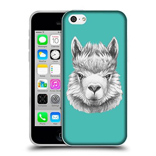 GoGoMobile Coque de Protection TPU Silicone Case pour // Q05380634 Portrait lama Turquoise // Apple iPhone 5C
