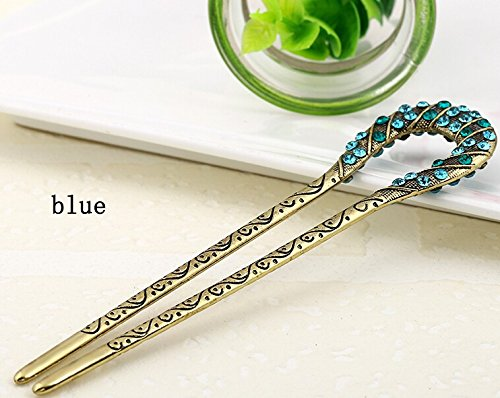 High Quality,5 Colors,crystal Antique Flower Hair Forks,hair Sticks,hair Chopsticks,wedding Hair Jewelry 2pieces/package (blue)