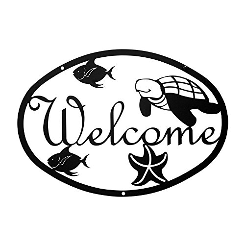 Iron Ocean Home Address Welcome Sign Med - Black Metal