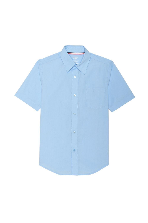 French Toast Husky Boys' Short Sleeve Classic Dress Shirt, Light Blue, 10H