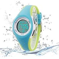 Niños reloj deportivo digital al aire última intervensión resistente al agua reloj con alarma para niño Boy niñas regalo LED reloj infantil, Azul-verde