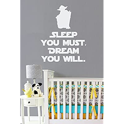 "Sleep You Must, Dream You Will Vinyl Wall Decal - Star Wars Style Yoda Silhouette and Quote - Removable Text Wall Decal - Star Wars Decals for Kids - 11.5"" x 14"" in Stormtrooper White: Home & Kitchen"