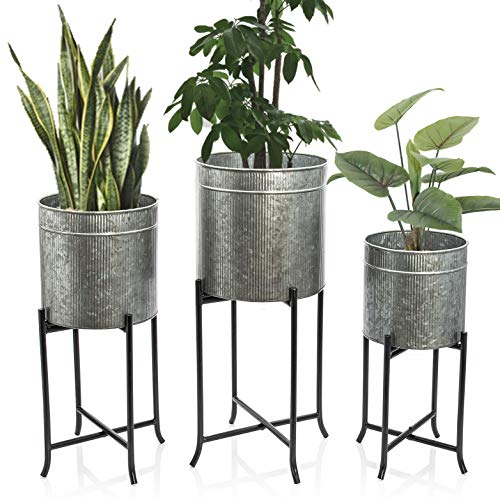 Set 3 Large Galvanized Planters Outdoor Indoor, Metal Farmhouse Decor for Garden, Patio, Porch Balcony, Pots with Stand and Drainage, Front Door Decorative Planting Container, Modern Rustic Decor