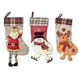 Slocyclub 19'' Set of 3 Santa, Snowman and Deer Christmas Stockings Cute Decorations Xmas Gift Character 3D Plush Linen Hanging Tag