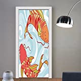 Gzhihine custom made 3d door stickers Colorful Fish Decor Collection Hand Drawn Koi and Sea Waves Colorful Fish Oriental Deisgn Kids Girls Boys Room Dorm Accessories Orange Red Blue For Room D