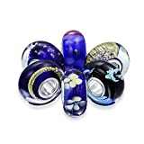 Set of Six Bundle Blue Simulated Amethyst Murano glass Lampwork Bead Charm .925 Sterling Silver