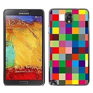 X-ray Impreso colorido protector duro espalda Funda piel de Shell para SAMSUNG Galaxy Note 3 III / N9000 / N9005 - Checkered Vibrant Colors Texture