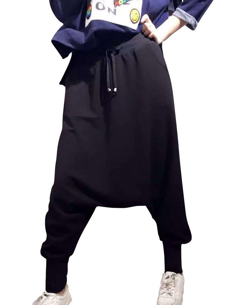 Mujeres Color Puro Casual Baggy Cintura Elástica Harem Pantalones Negro