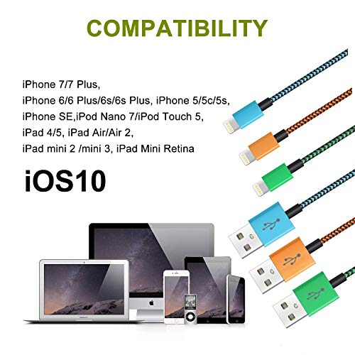 3FT 6FT 10FT 3Pack iPhone Charger Cable MFI Certified Charging Cable USB Syncing Data and Nylon Braided Cord Charger Compatible iPhone XR XS X 11 10 8 Plus 7 Plus 6s Plus 6 Plus 5s 5 SE iPad iPod Pro