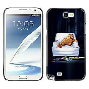 SAMSUNG Galaxy Note 2 II / N7100 , Radio-Star - Cáscara Funda Case Caso De Plástico (Funny - Lazy Garf Cat)