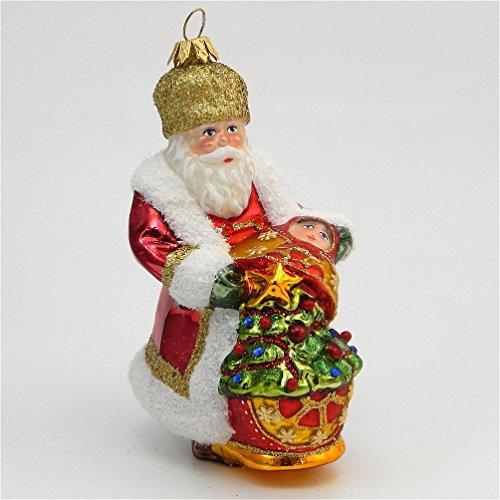 Kurt Adler Polonaise - Russian Santa With Matryoska - Blown Glass Ornament