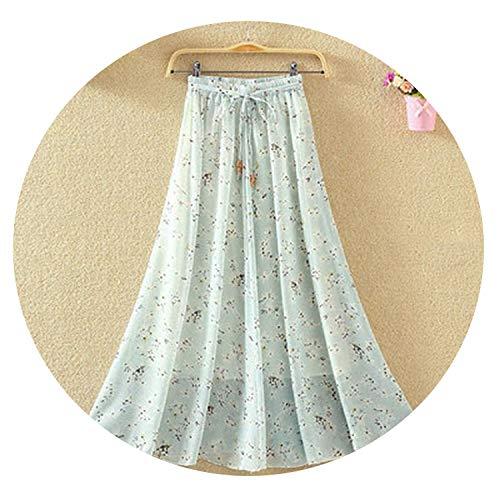 Crunchy Candy Women Skirt High Waist Pleated Print A Line Long Skirt high Elasticity Chiffon Skirts,3,S