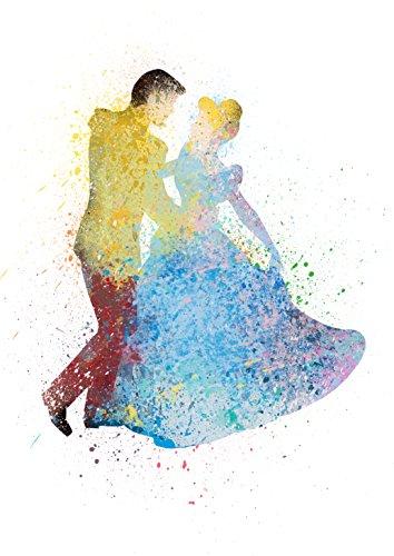 [Cinderella & Prince Charming Disney Princess Watercolor Photo Prints - Unique Kids Wall Art 8x10] (Pocahontas Movie Costume)