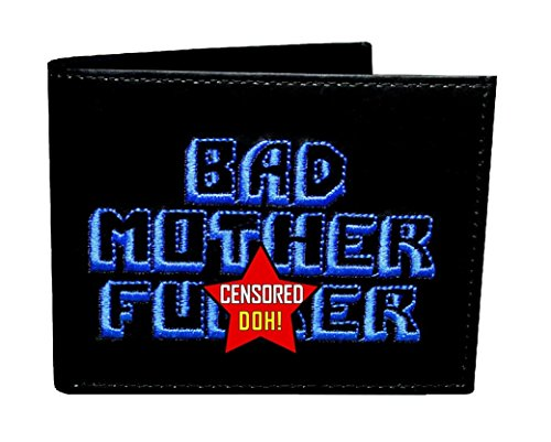 BMF Wallet Blue Embroidery Black Leather ()
