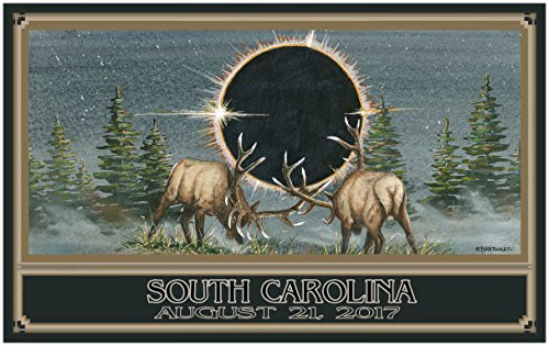 Eclipse South Carolina Giclee Travel Art Poster by Artist 30 x 44 inch) Art Print for Bedroom, Family Room, Kitchen, Dorm Room or Office Wall - Mall Francisco South San