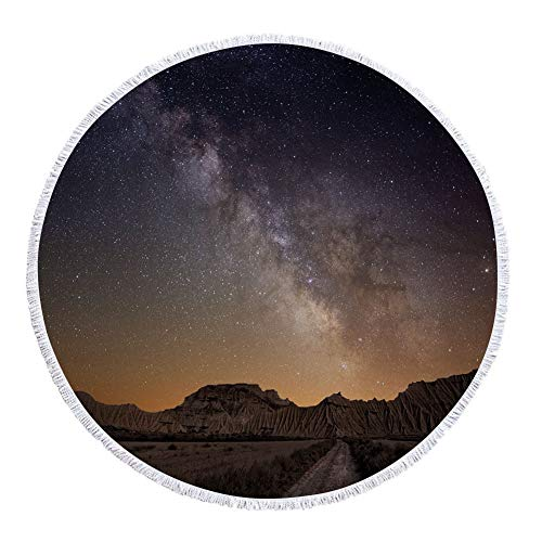 iPrint Thick Round Beach Towel Blanket,Night,Milky Way over Desert of Bardenas Spain Ethereal View Hills Arid Country Decorative,Plum Apricot Chocolate,Multi-Purpose Beach Throw by iPrint