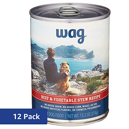 Wag Wet Dog Food, Beef & Vegetable Stew Recipe, 13.2 oz Can (Pack of 12) Only $14.24