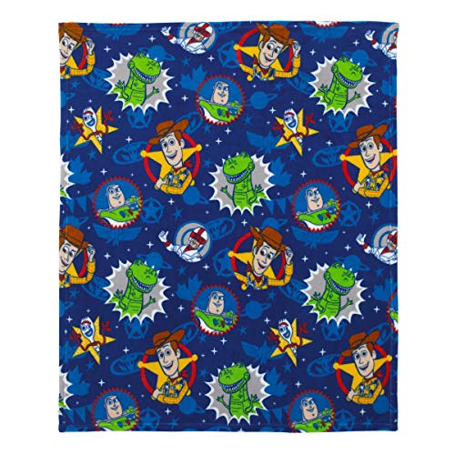 Disney Toy Story 4 - Blue, Green, Yellow & Red Super Soft Plush Toddler Blanket, Blue, Green, Yellow, Red (Crib Bedding Toy Story Set)