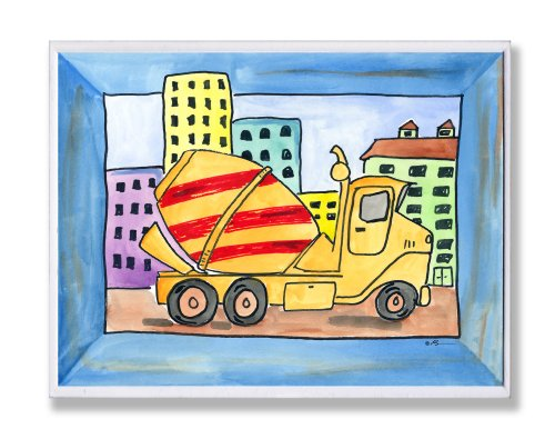 - The Kids Room by Stupell Red and Yellow Cement Truck with Blue Border Rectangle Wall Plaque