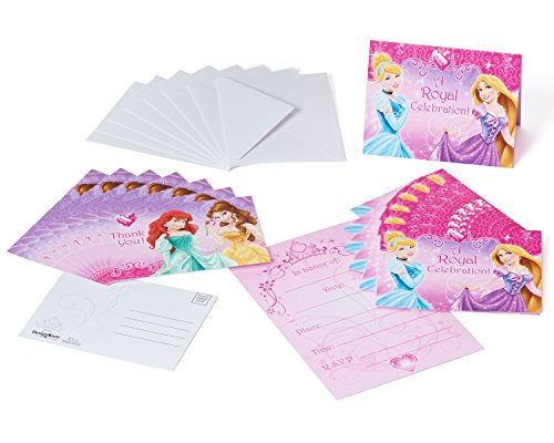 Disney Princess Invite and Thank You Combo, 8 Pack, Party Supplies