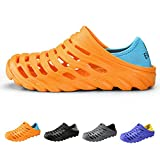 PHILDA Men's Lightweight Breathable Slippers Quick-Drying Water Shoes Non-Slip Round Head Garden Clogs Sandals For Summer Orange 44