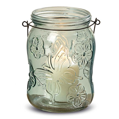 Whole House Worlds The Farmer's Market Fancy Mason Jar Candle Holders, Butterflies and Flowers, Set of 6, Vintage Rustic Style Hurricane Lanterns, Glass, Pale Green, 6 Inches Tall, By WHW (Vase Bud Pressed Glass)
