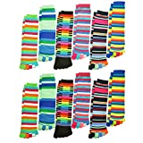Angelina Dozen Pack Toe Socks, Feminine Colors, One Size
