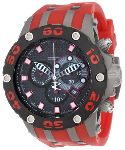 (Jason Taylor for Invicta Collection 12949 Reserve Chronograph Black Carbon Fiber Dial Red Polyurethane Watch)