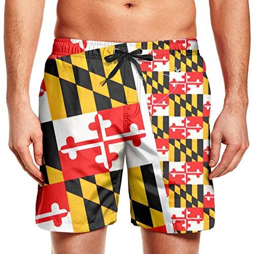 XULANG Man Maryland Flags Swimming Trunks Swim Shorts Jogging Swimsuits Shorts for Men Breathable Boardshorts (Maryland Swim Trunks)