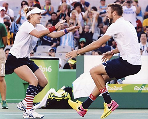 BETHANIE MATTEK-SANDS AND JACK SOCK 2016 USA OLYMPIC TENNIS TEAM 8X10 SPORTS ACTION PHOTO (RIO)