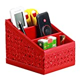 PU leather 3 Slots TV Remote Control Holder Office Supplies Storage Box,TV Guide/phone/CD Organizer/Caddy/Pen Holder (Red)