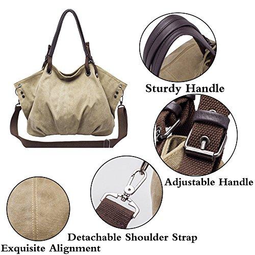 Grand Sac Pochettes FiveloveTwo Dames Sacs Portés Shoulder Main Portés Sac Bag Épaule Femmes Dos Toile Bandoulière Kaki Shopper Cusual E6Sq1