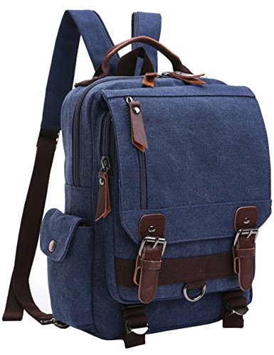 Small Canvas Backpack - Mygreen Retro 13-Inch Canvas Backpack Crossbody Sling School Bags for Men Small Backpack Rucksack Daypack for Work and Daily Use Blue
