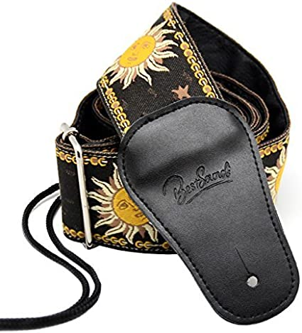 BestSounds Guitar Strap Genuine Leather Ends /& Sun Jacquard Weave Style Strap For Bass Electric /& Acoustic Guitars