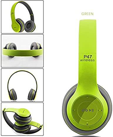 Auriculares inalámbricos, Bluetooth, P47 over Ear auriculares plegable con micrófono estéreo Auriculares 3,5 mm de audio Apoyo TF de radio FM para PC TV Smart Phones y Tablets etc.: Amazon.es: Electrónica