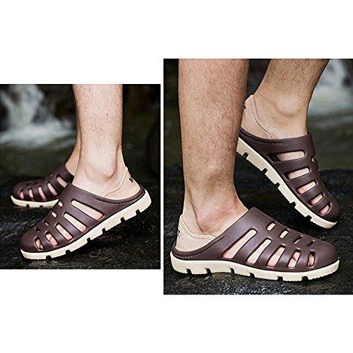 DULEE - Zapatillas de estar por casa de goma eva para hombre marrón