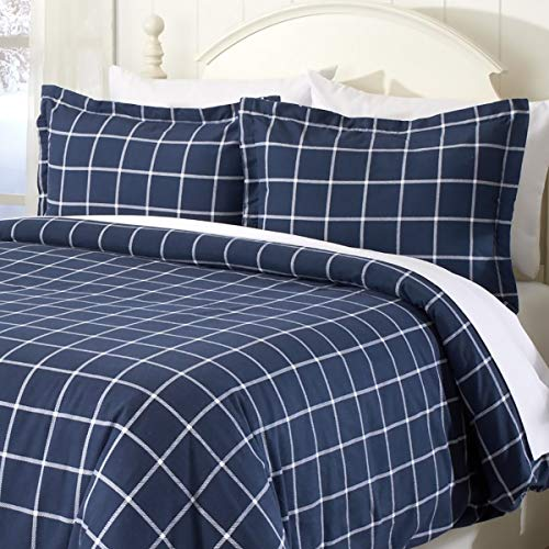 Duvet Flannel Plaid - Great Bay Home Extra Soft Printed Flannel Duvet Cover with Button Closure. 100% Turkish Cotton 3-Piece Set with Pillow Shams. Belle Collection (Full/Queen, Windowpane - Navy/White)