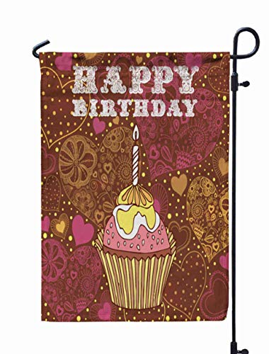 Shorping Yard Garden Flag, 12x18Inch for Holiday and Seasonal Double-Sided Printing Yards Flags Birthday Cake Card