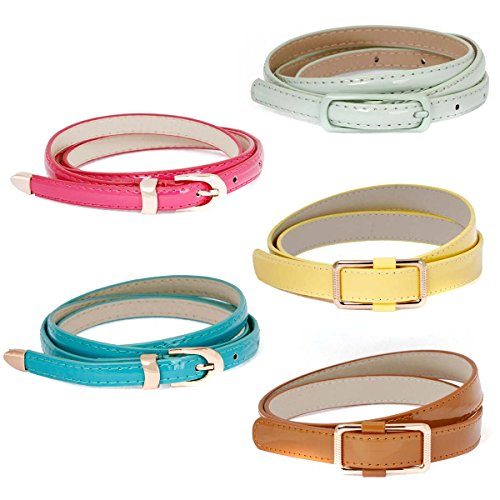 BMC Womens 5pc Mix Color Faux Leather Fashion Statement Skinny Belts Bundle-Set (Belt Set)