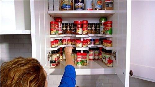 fitTek Kitchen RV Shelf 64 Spice Jar Rack Stackable Organizer Storage Cabinet Cupboard