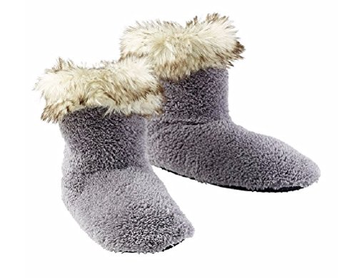 Slippers Down Babba Gray Fur Trimmed Cuff Women's Turn Fuzzy Bootie qTX8zAwX