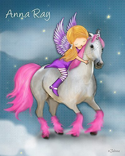 Personalized Name  Poster Unicorn Kids Room Decor Girls Wall