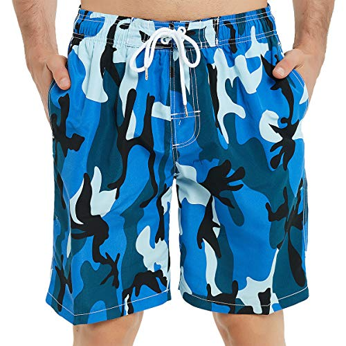 Surfboard Swim Trunks - Kailua Surf Mens Swim Trunks Long, Quick Dry Mens Boardshorts, 9 Inches Inseam Mens Bathing Suits with Mesh Lining (4X, Camo Blue)