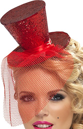 Red Glitter Mini Top Hat (Fever Women's Mini Red Top Hat)